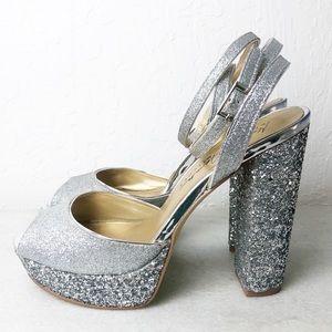 Badgley Mischka stacked heel glitter prom formal